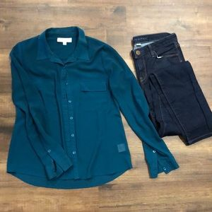 Olive and Oak dark dark emerald green top